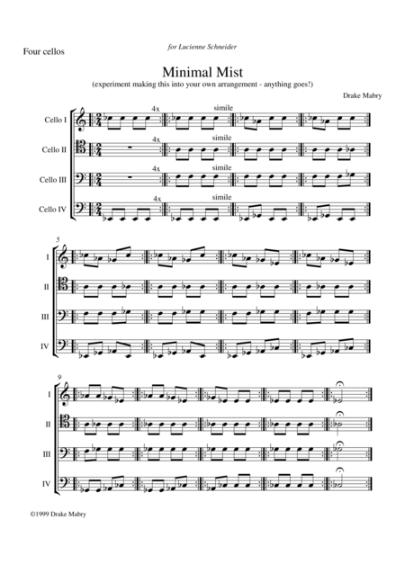 Minimal Mist for 4 cellos - score & parts