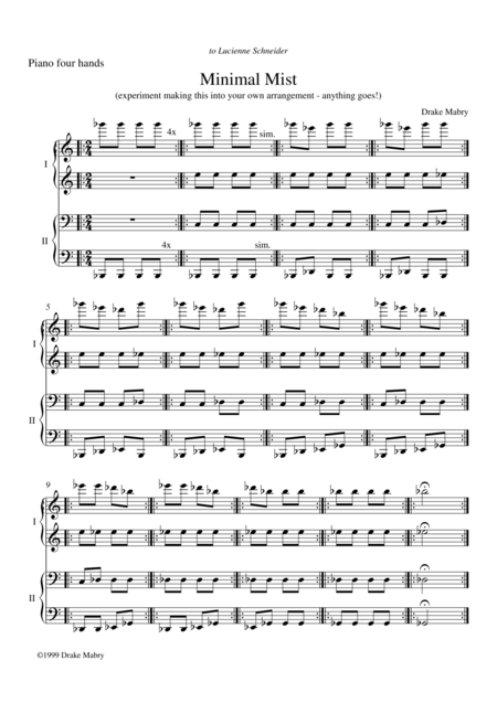 Minimal Mist - piano 4 hands