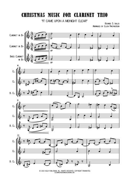 Christmas Music for Clarinet Trio - SCORE