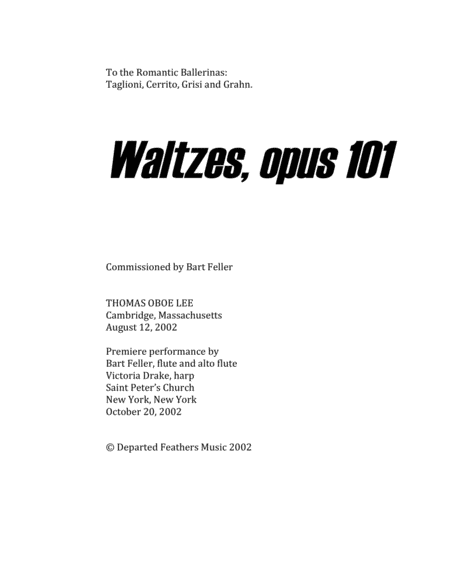 Waltzes, opus 101 (2002) for flute and harp