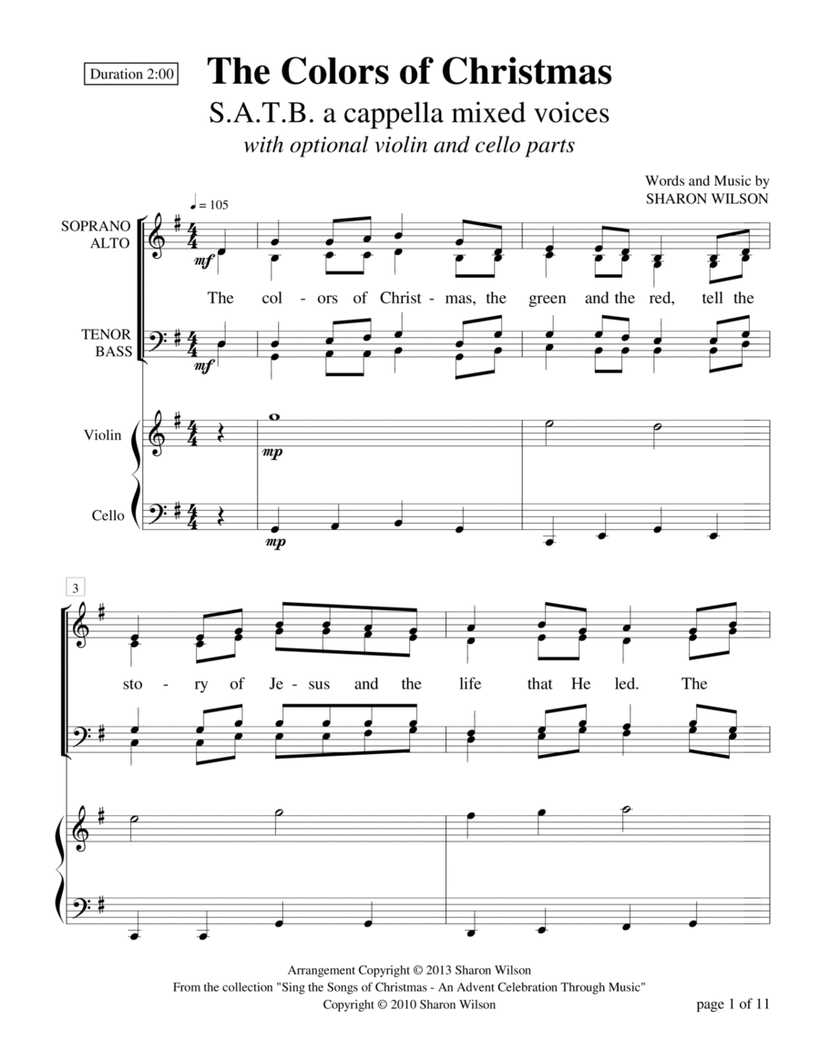 The Colors of Christmas (SATB a cappella with optional violin and cello)