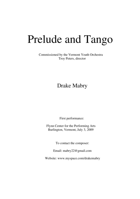 Prelude and Tango