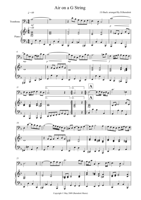Air on a G String for Trombone and Piano