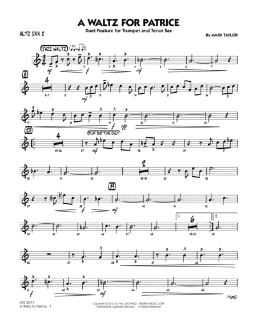 A Waltz for Patrice - Alto Sax 2