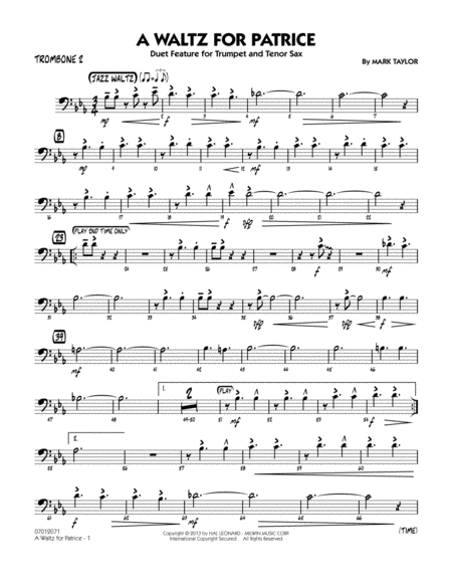 A Waltz for Patrice - Trombone 2