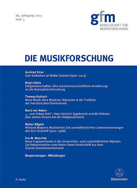 Die Musikforschung, Heft 3/2013