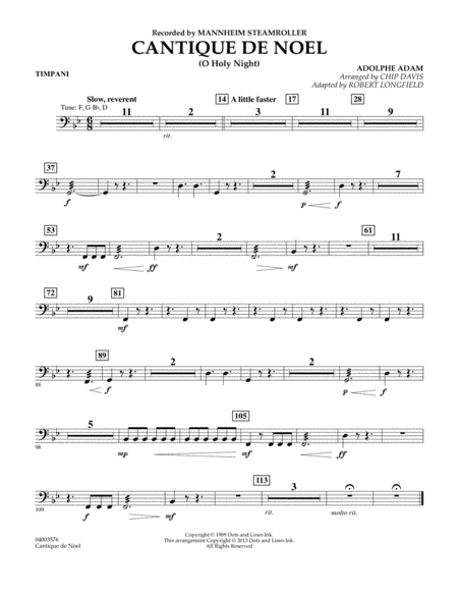 Cantique de Noel (O Holy Night) - Timpani