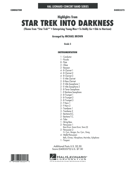 Highlights from Star Trek Into Darkness - Conductor Score (Full Score)