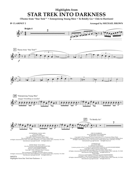 Highlights from Star Trek Into Darkness - Bb Clarinet 2