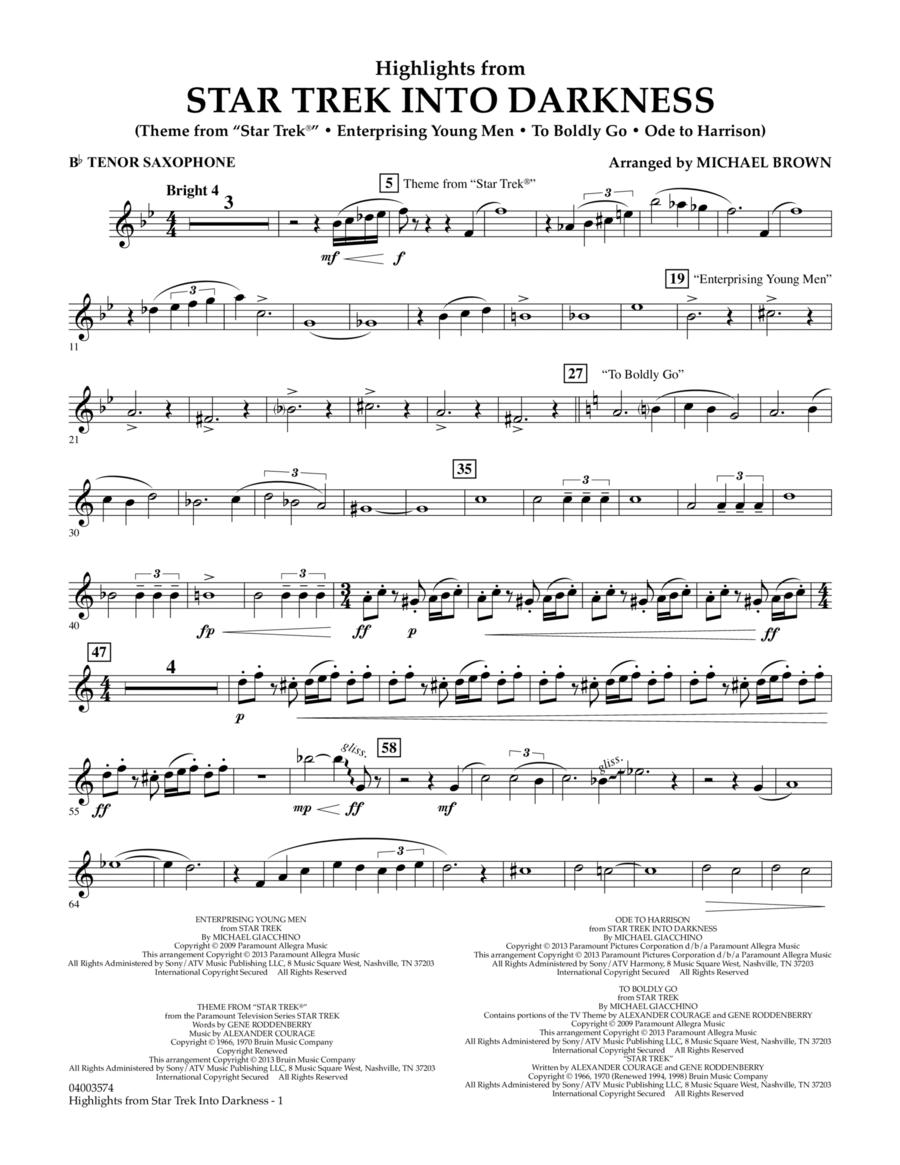 Highlights from Star Trek Into Darkness - Bb Tenor Saxophone
