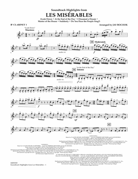 Soundtrack Highlights from Les Miserables - Bb Clarinet 1
