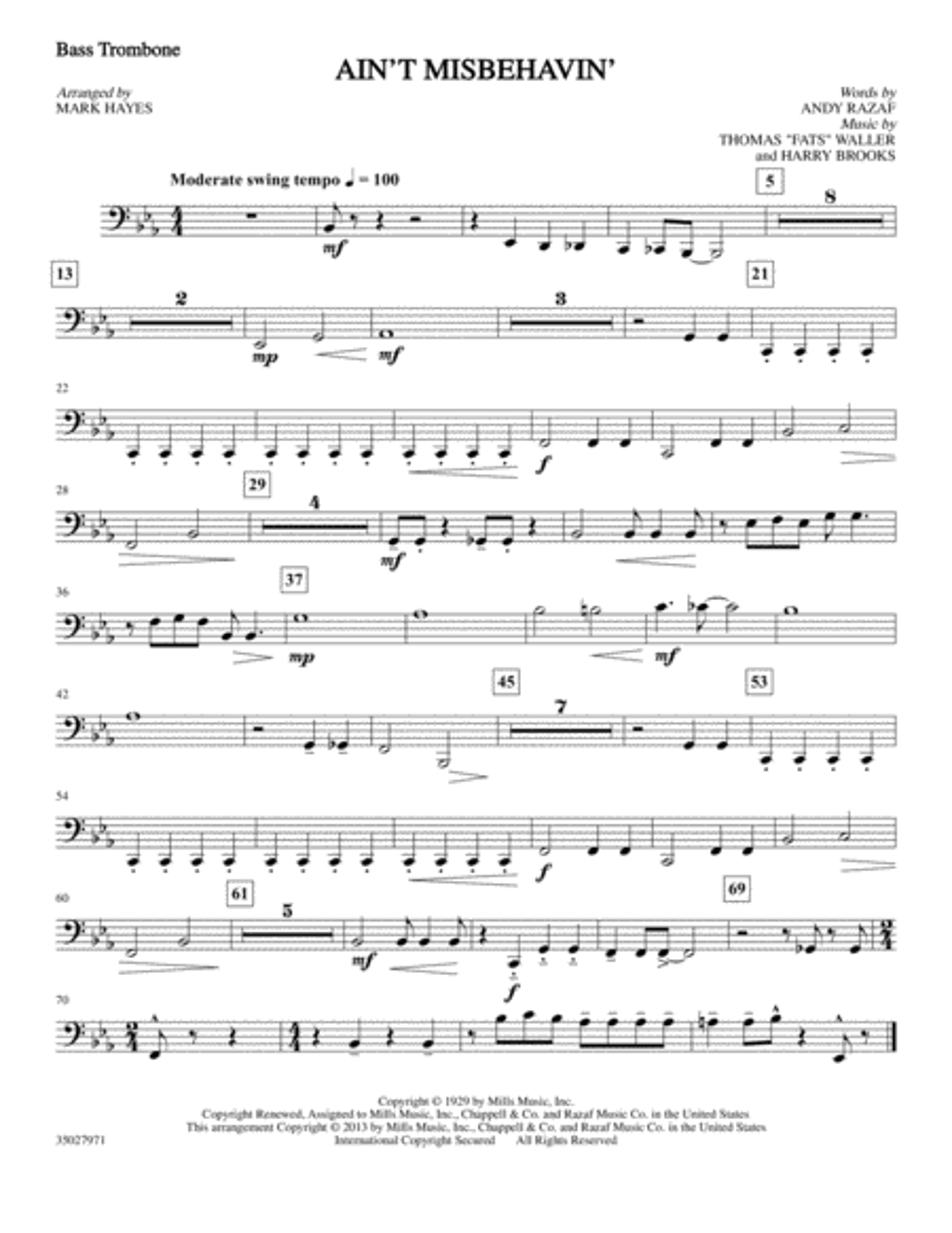 Ain't Misbehavin' - Bass Trombone