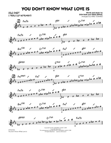 You Don't Know What Love Is - C Solo Sheet