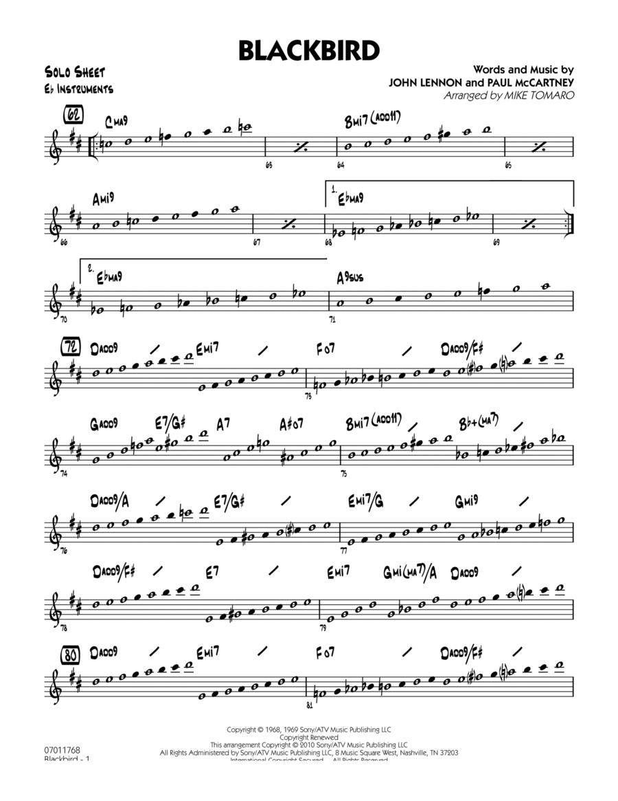 Blackbird - Eb Solo Sheet