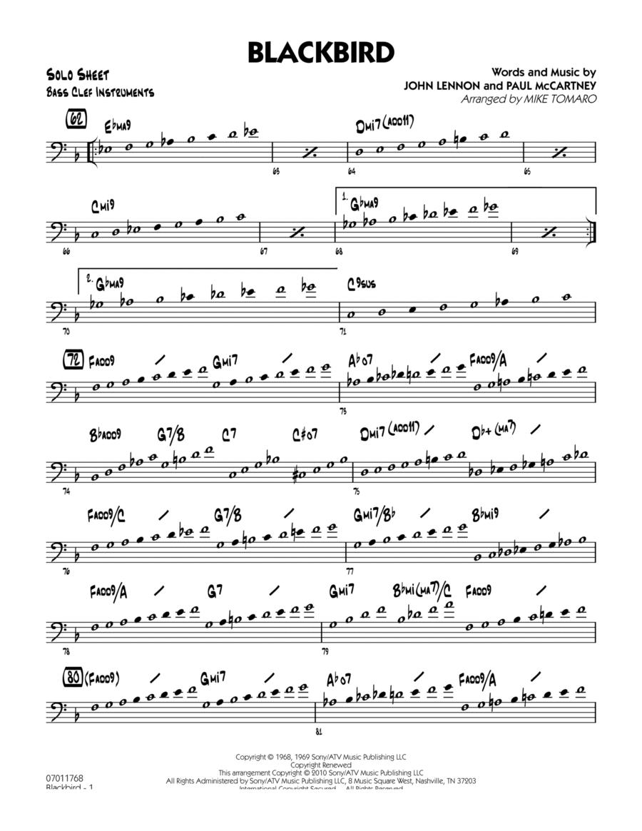 Blackbird - Bass Clef Solo Sheet
