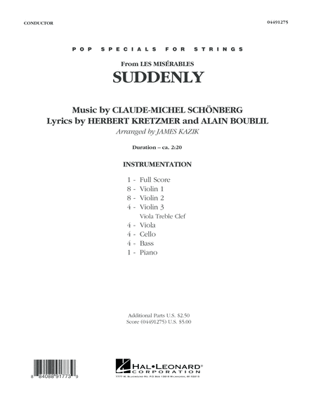 Suddenly (from Les Miserables) - Conductor Score (Full Score)