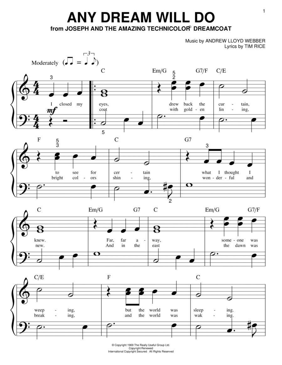 any dream will do sheet music pdf