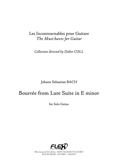 Bourree from Suite in E minor for Lute