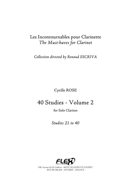 40 Studies for Clarinet - Volume 2 - Studies 21 to 40