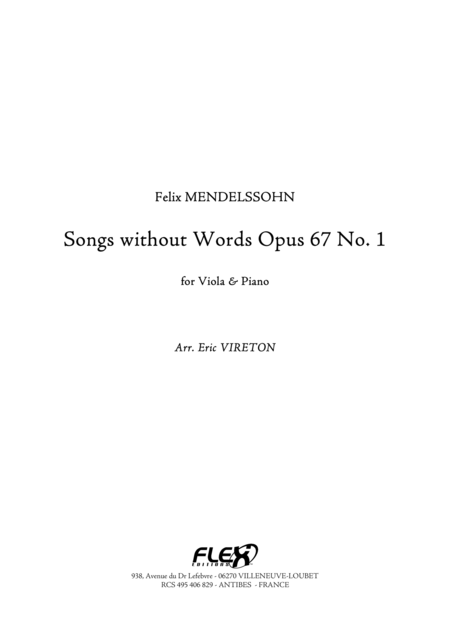 Songs without Words, Op. 67, No. 1