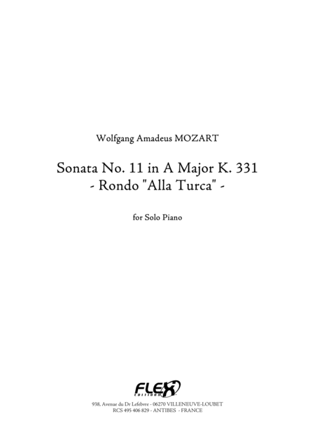 Sonata, No. 11 in A Major K. 331 - Rondo Alla Turca