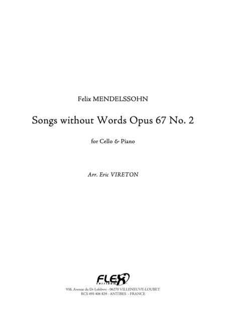 Songs without Words, Op. 67, No. 2