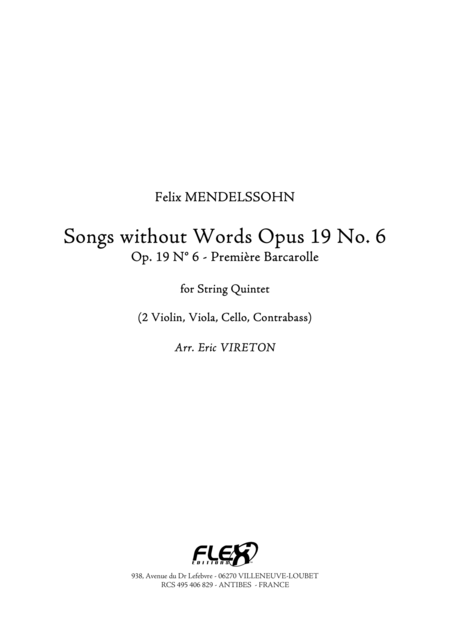Songs without Words, Op. 19, No. 6