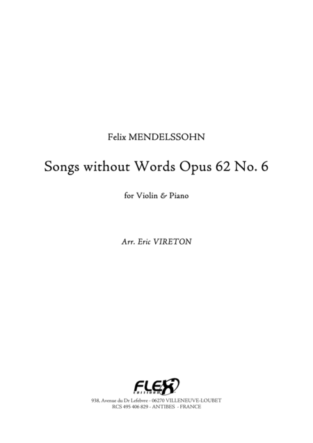 Songs without Words, Op. 62, No. 6