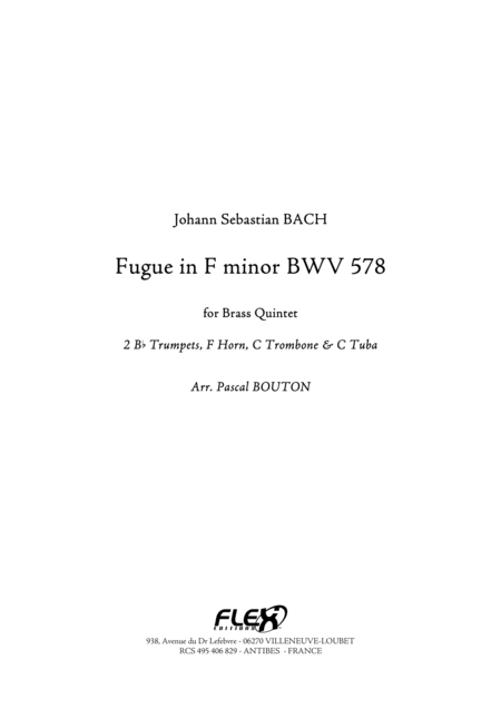 Fugue in F minor - BWV 578