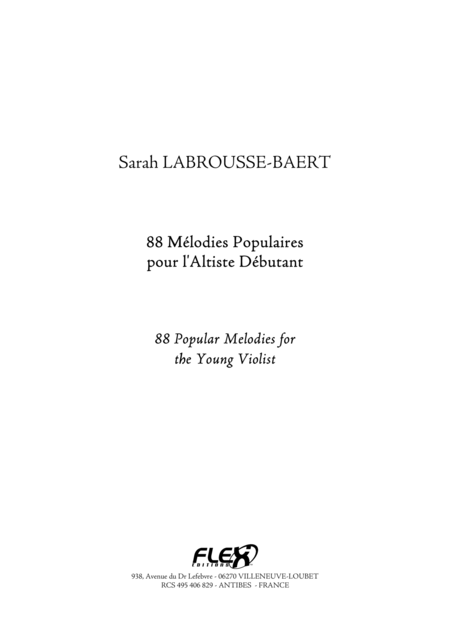 88 Popular Melodies for the Young Violist