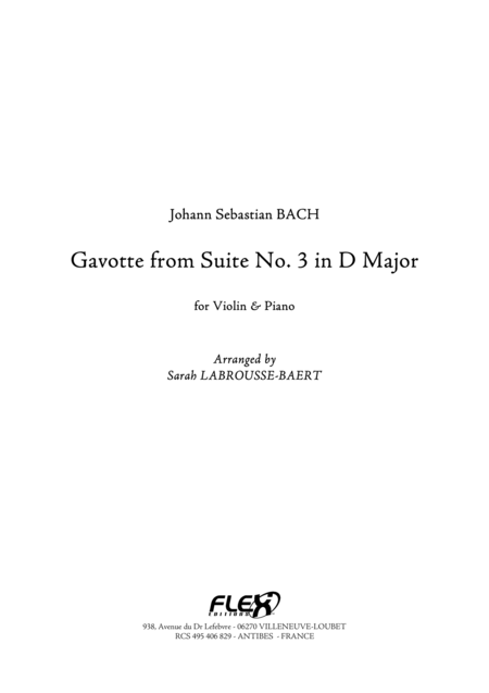 Gavotte from Suite No. 3 in D Major