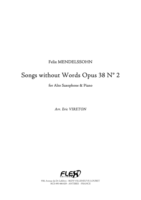 Songs without Words, Op. 38, No. 2