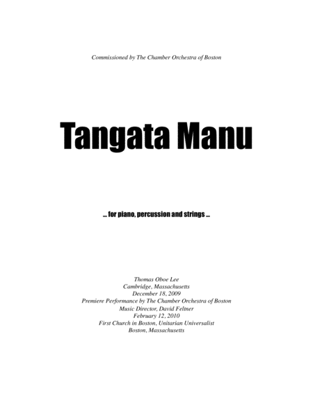 Tangata Manu (2009) for piano, percussion and string quintet