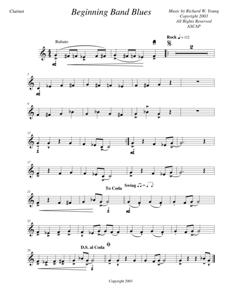 download beginning band blues clarinet sheet music by richard wellington wan young sheet. Black Bedroom Furniture Sets. Home Design Ideas