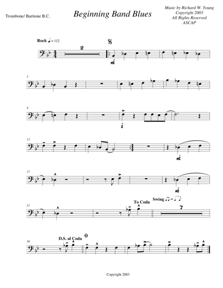 Beginning Band Blues- trombone/ baritone B.C.