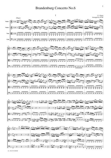 J.S.Bach Brandenburg Concerto No.6, all mvts. for String Quartet