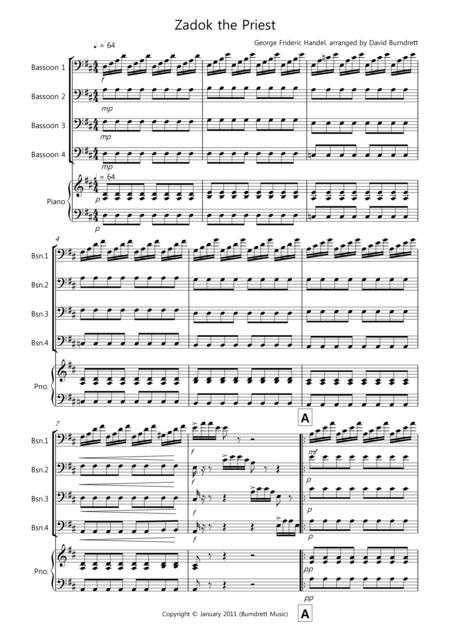 Zadok the Priest for Bassoon Quartet