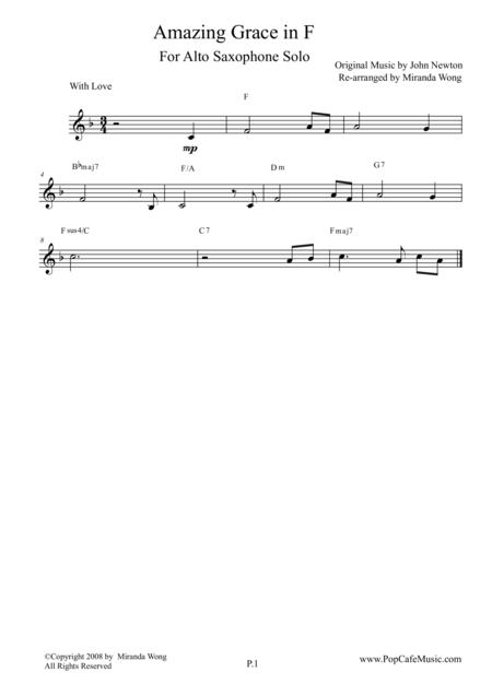 Amazing Grace in F - Alto Saxophone Solo