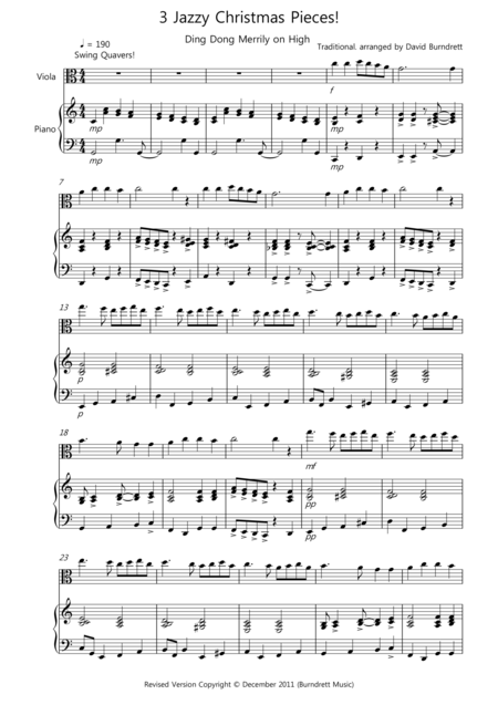 3 Jazzy Christmas Pieces for Viola and Piano