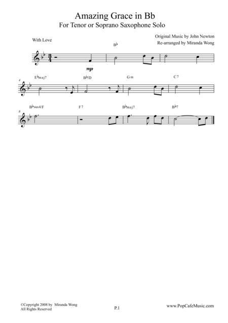 Amazing Grace - Tenor or Soprano Saxophone + Concert Key