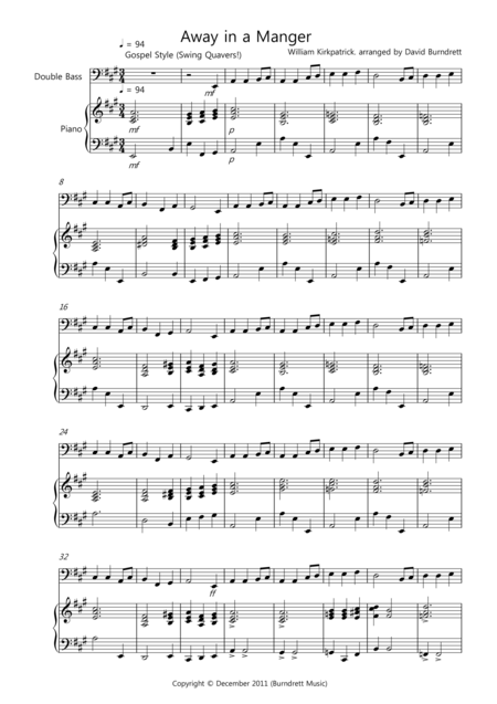 Away in a Manger (Gospel Style!) for Double Bass and Piano