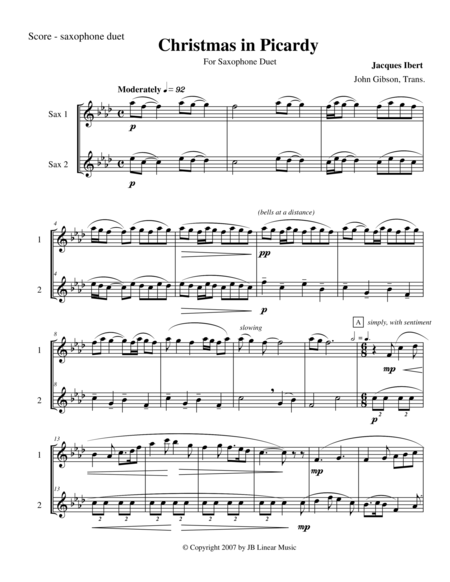 Ibert - Christmas in Picardy for saxophone duet