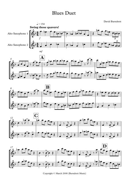 Blues Duet for Alto Saxophone
