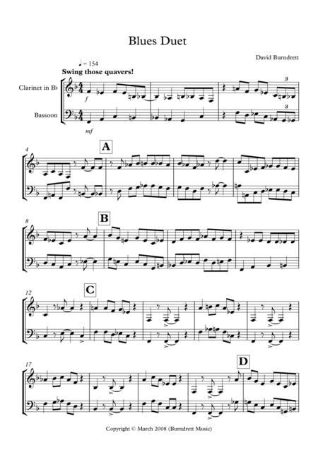 Blues Duet for Clarinet in Bb and Bassoon