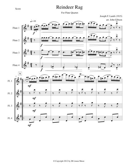 Reindeer Rag for Flute Quartet