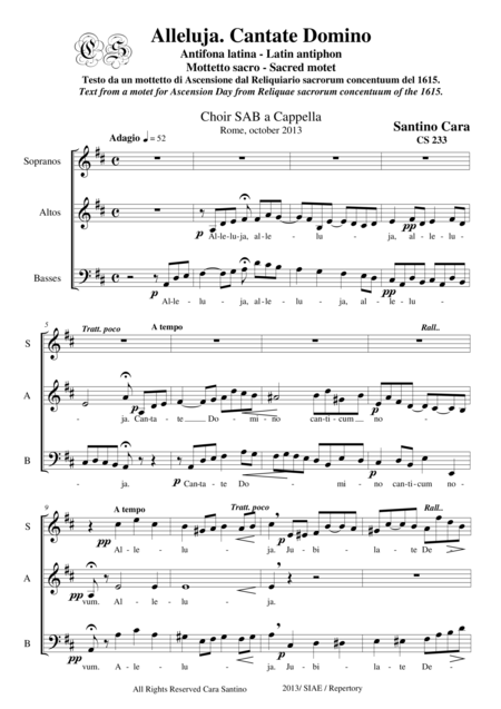 Alleluia. Cantate Domino - Sacred Motet for SAB a cappella