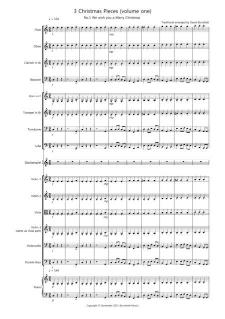 3 Easy Christmas Pieces for School Orchestra (volume one)