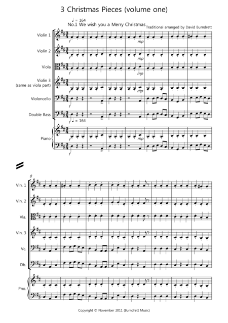 3 Easy Christmas Pieces for String Orchestra (volume one)