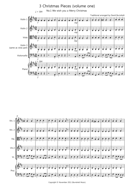 3 Easy Christmas Pieces for String Quartet (volume one)