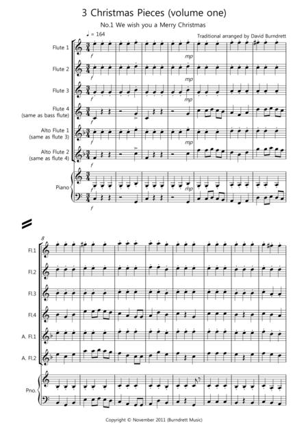 3 Easy Christmas Pieces for Flute Quartet (volume one)